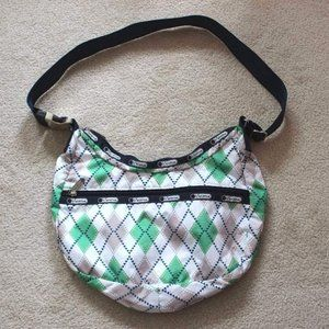 LeSportsac Green and White Geometric Handbag